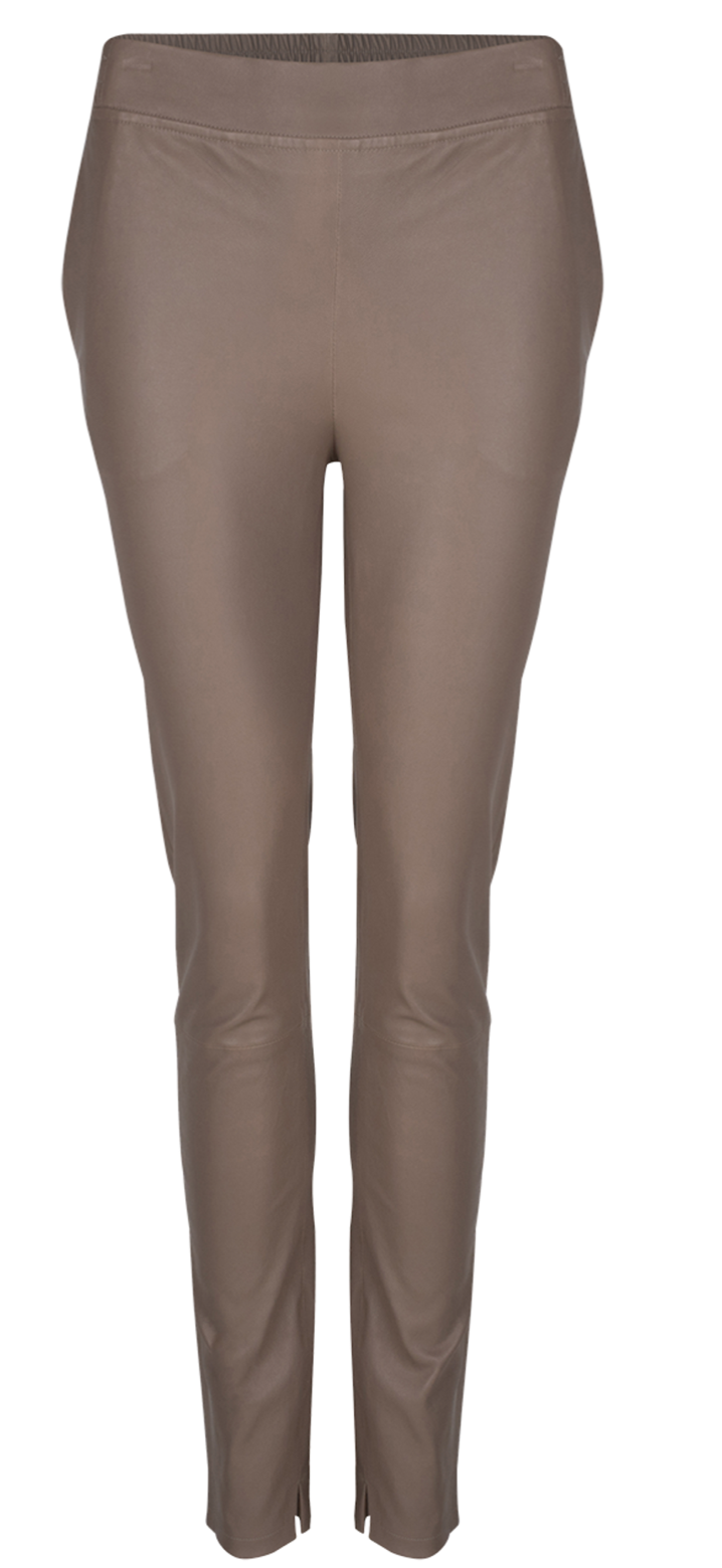 Lebon leather pants taupe-1