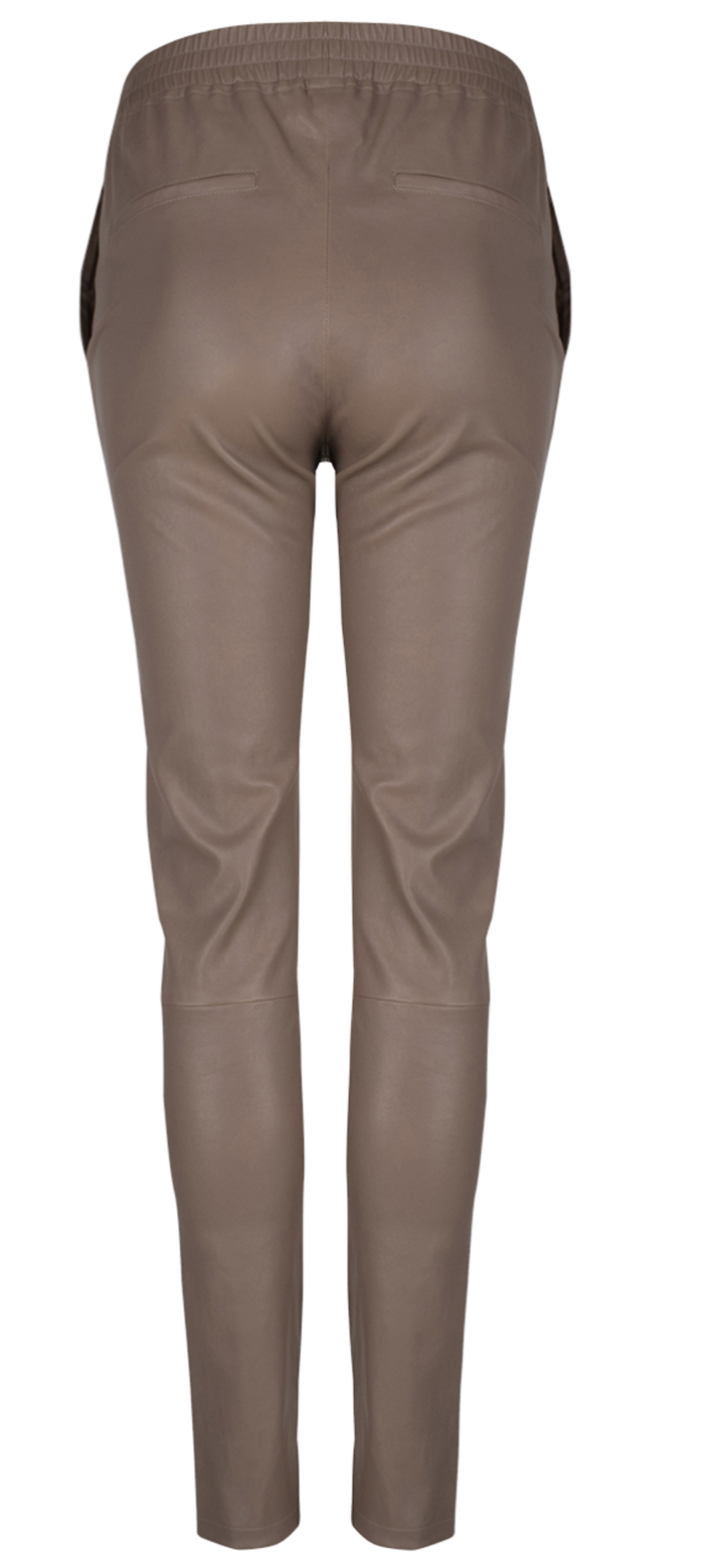 Lebon leather pants taupe-2
