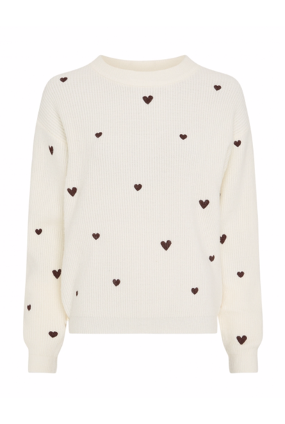 Disco heart pullover cream white