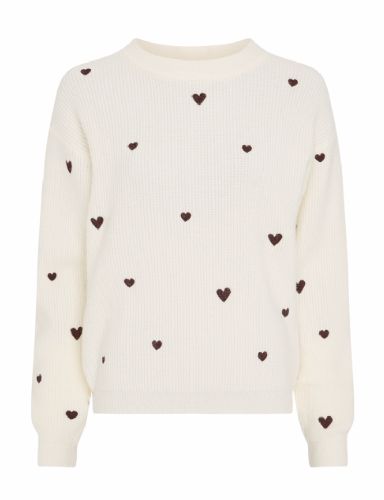 Disco heart pullover cream white-1