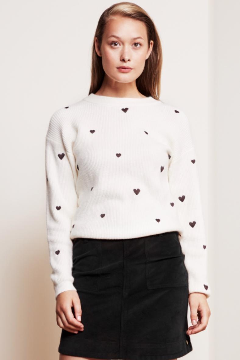 Disco heart pullover cream white-2