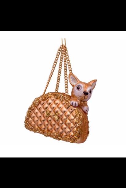 Kersthanger Gold dog in bag