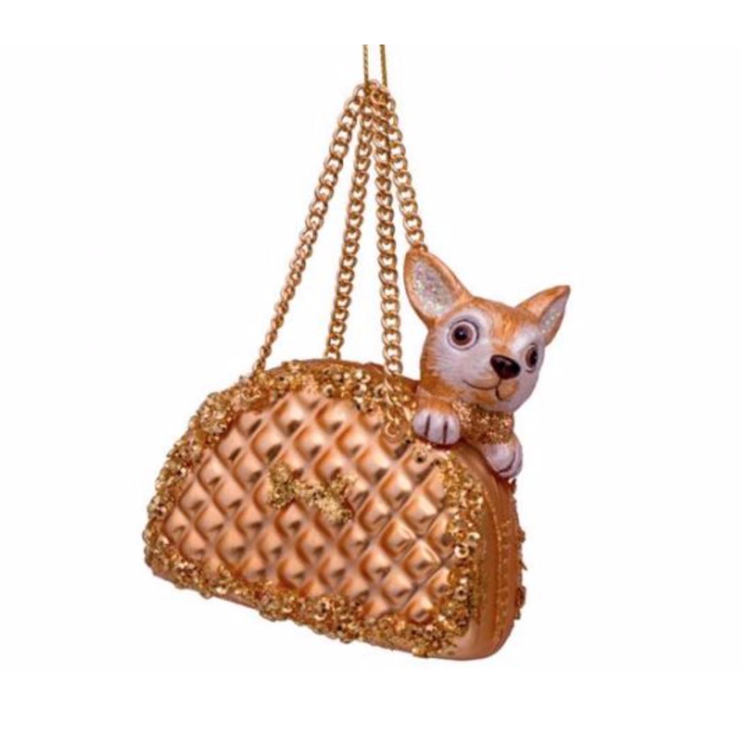 Kersthanger Gold dog in bag-1