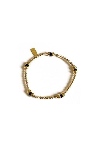 Bracelet gold rondel black