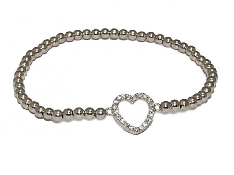 Ps Call Me Bracelet zilver heart strass