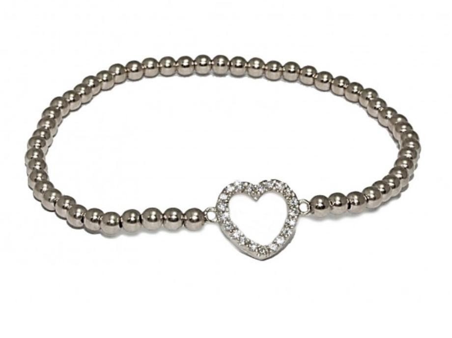 Bracelet zilver heart strass-1