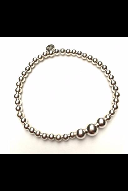 Bracelet 3 beads zilver
