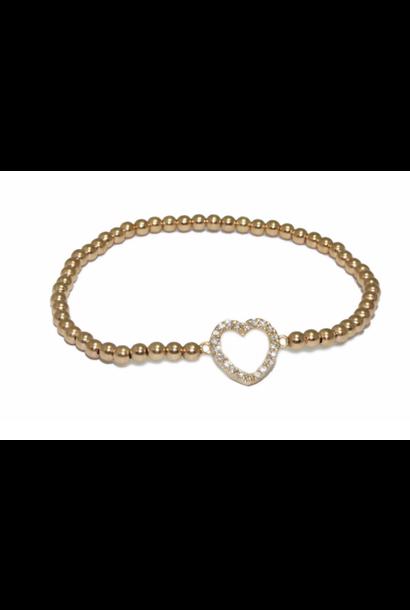 Bracelet gold heart open