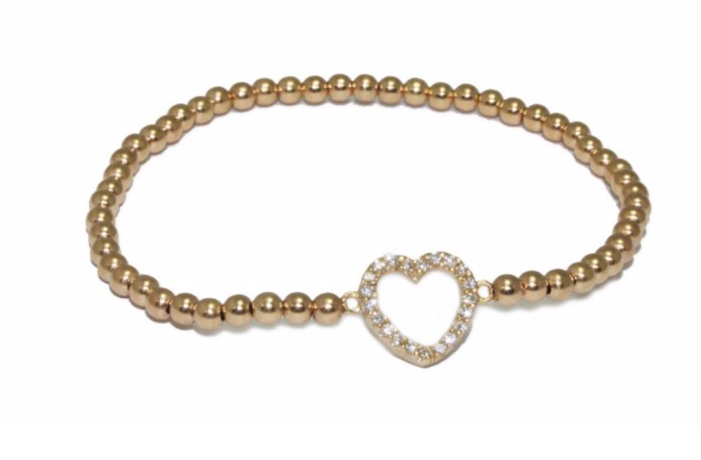 Bracelet gold heart open-1