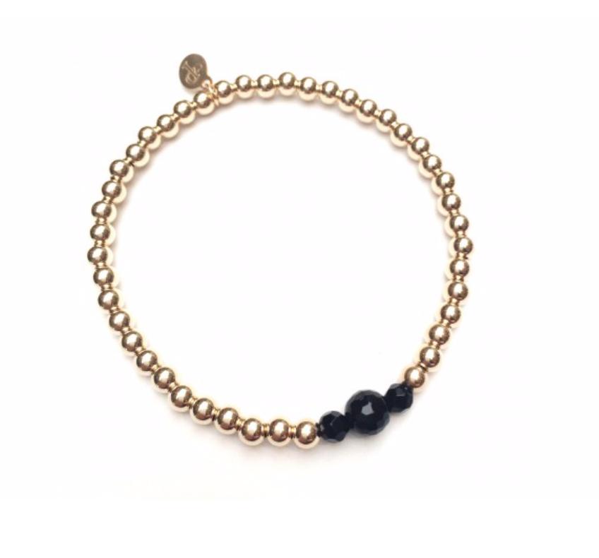 Bracelet gold onyx three-1