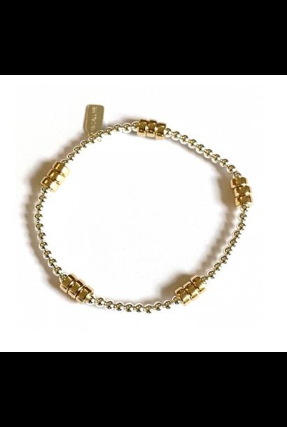 Bracelet zilver rondel 5 gold
