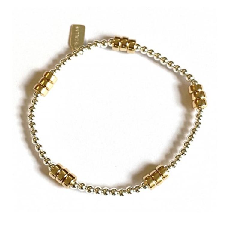 Bracelet zilver rondel 5 gold-2