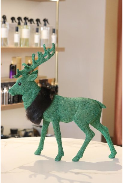 Reindeer XL 40 cm Green beaded w/fauxfur