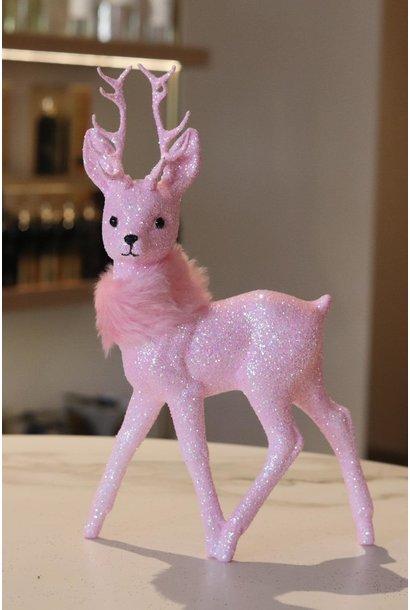 Reindeer 26cm Glitter  soft pink w/fauxfur