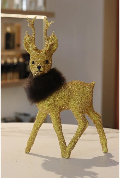 Reindeer 26cm Gold beaded w/fauxfur