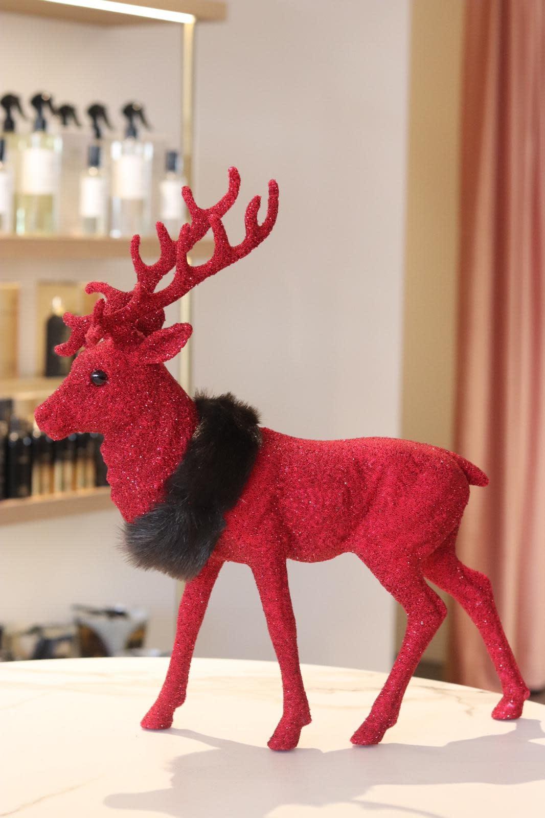 Reindeer XL 40 cm red beaded w/fauxfur-1