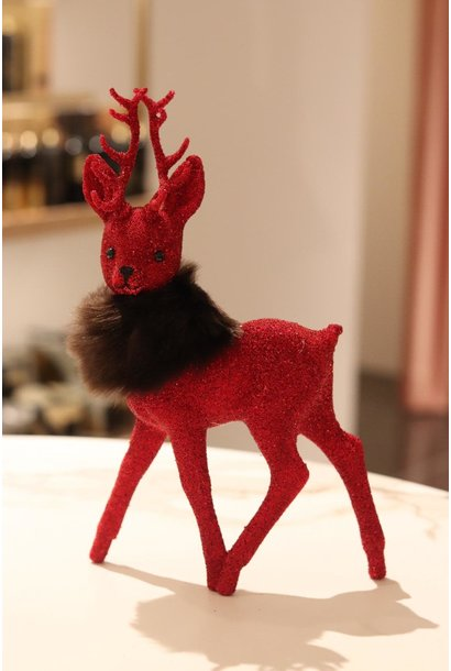Reindeer 26cm Red beaded w/fauxfur