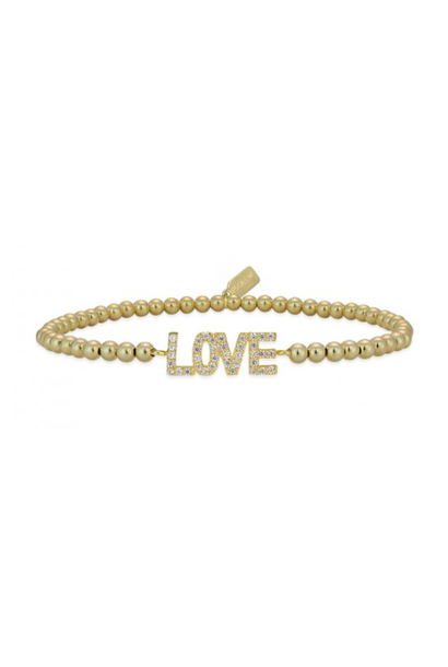 Bracelet gold love strass