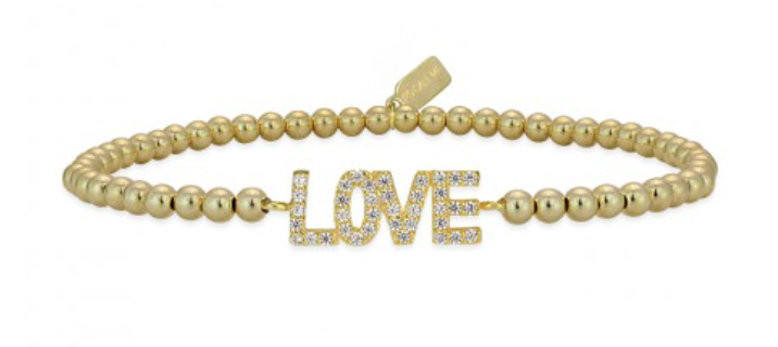 Bracelet gold love strass-1