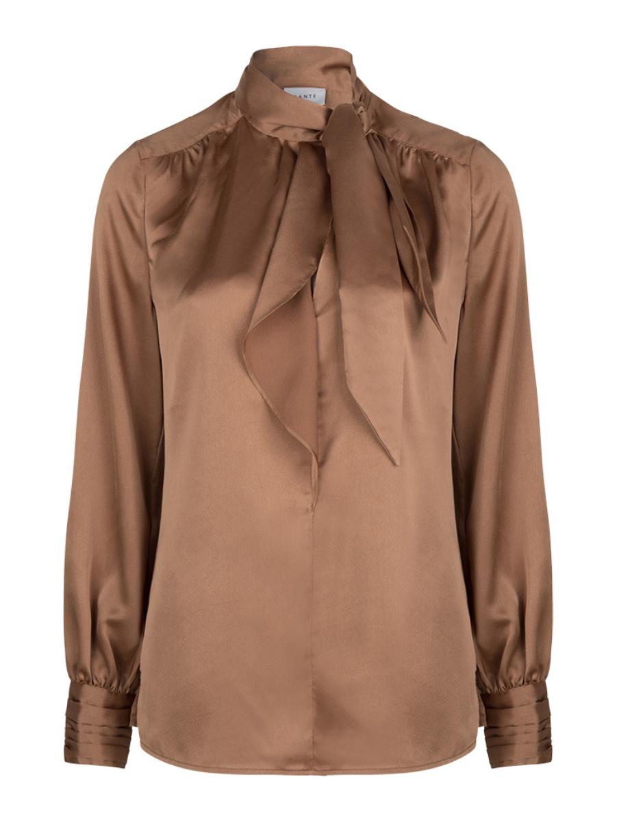Aila satin blouse Toffee-1