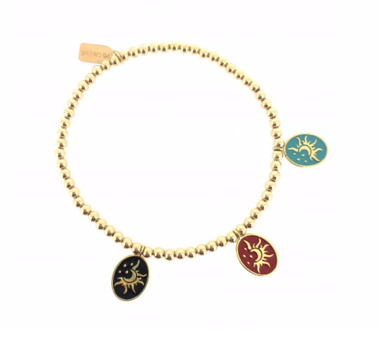 bracelet gold moon and sun charms-1