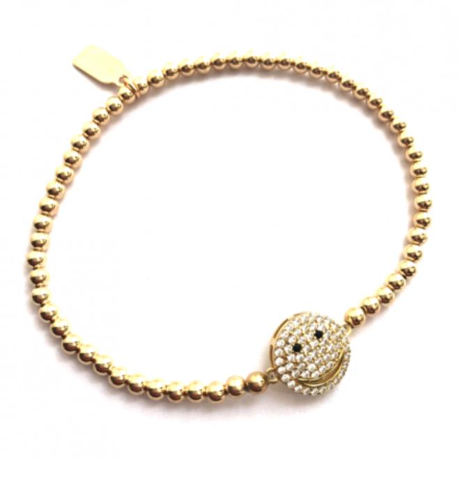 Bracelet gold smiley-2