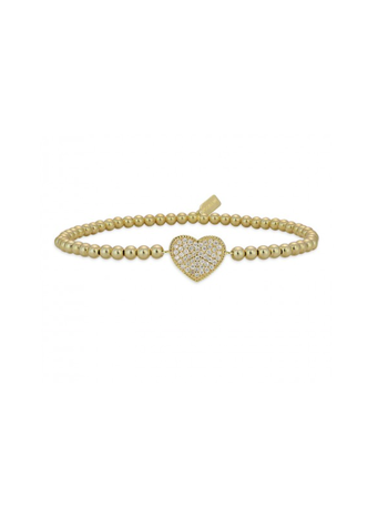 Ps Call Me Bracelet gold heart pave