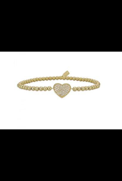 Bracelet gold heart pave