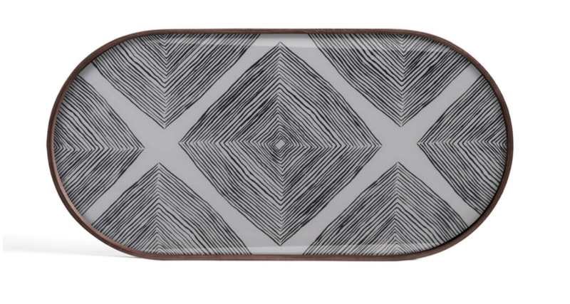 Ethnicraft Glas tray Slate Linear Squares oblong
