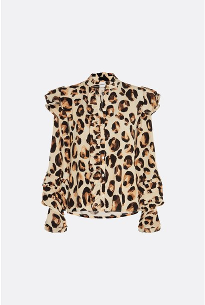 Leo frill blouse oatmeal/chocolat