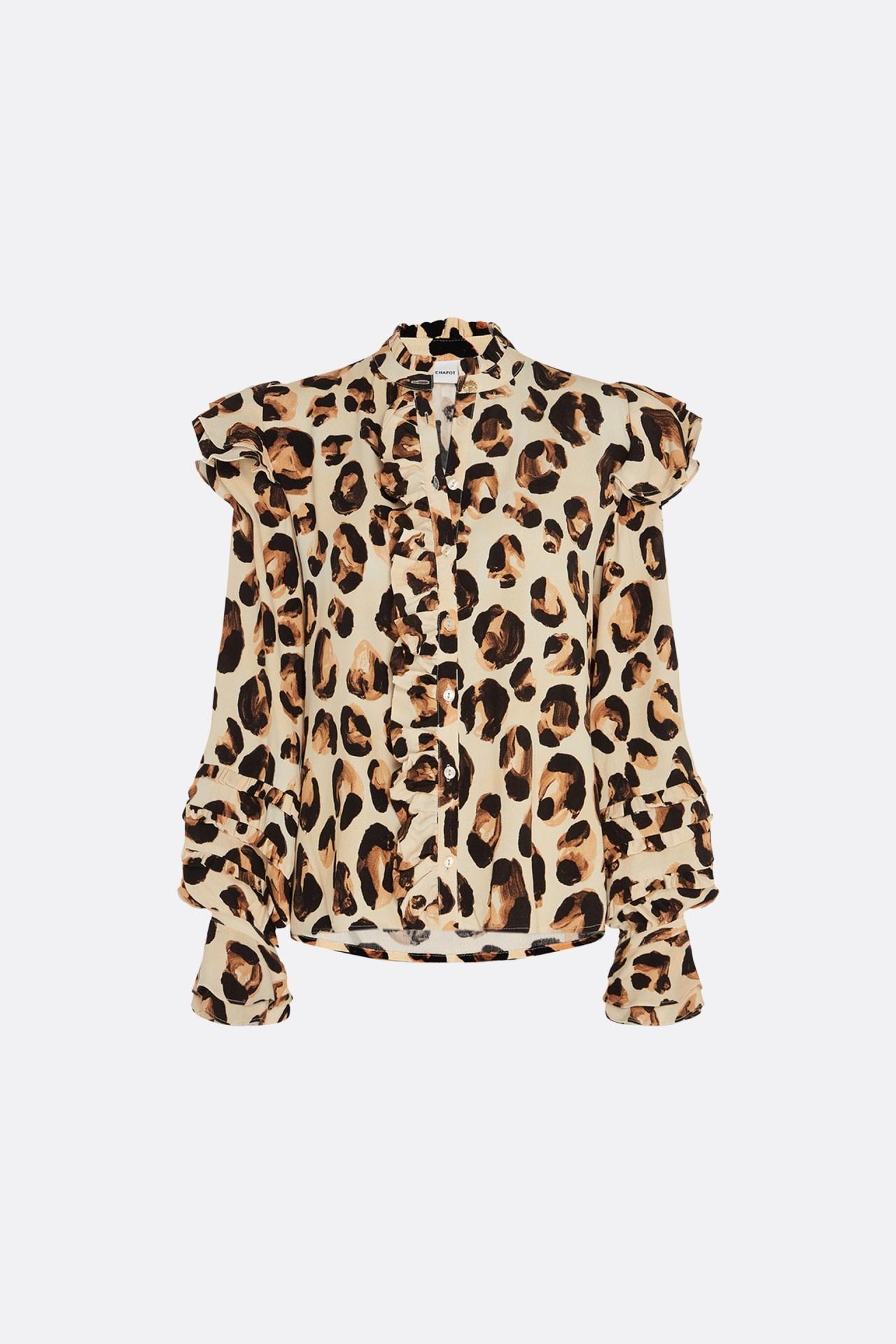 Leo frill blouse oatmeal/chocolat-1