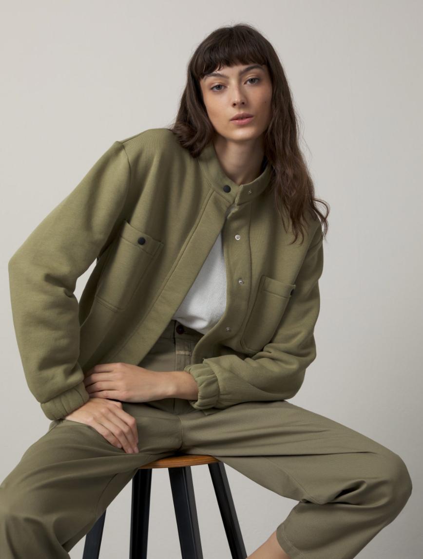 Organic cotton  jacket green umber-2