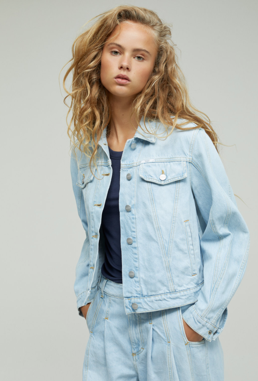 Organic denim jacket light blue-2