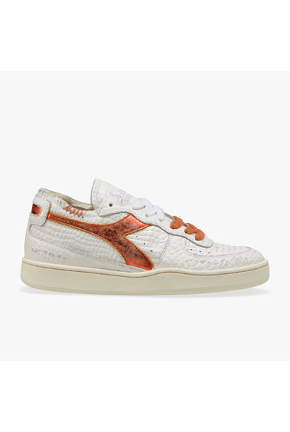 Sneaker basket row cut cocco white/caramel