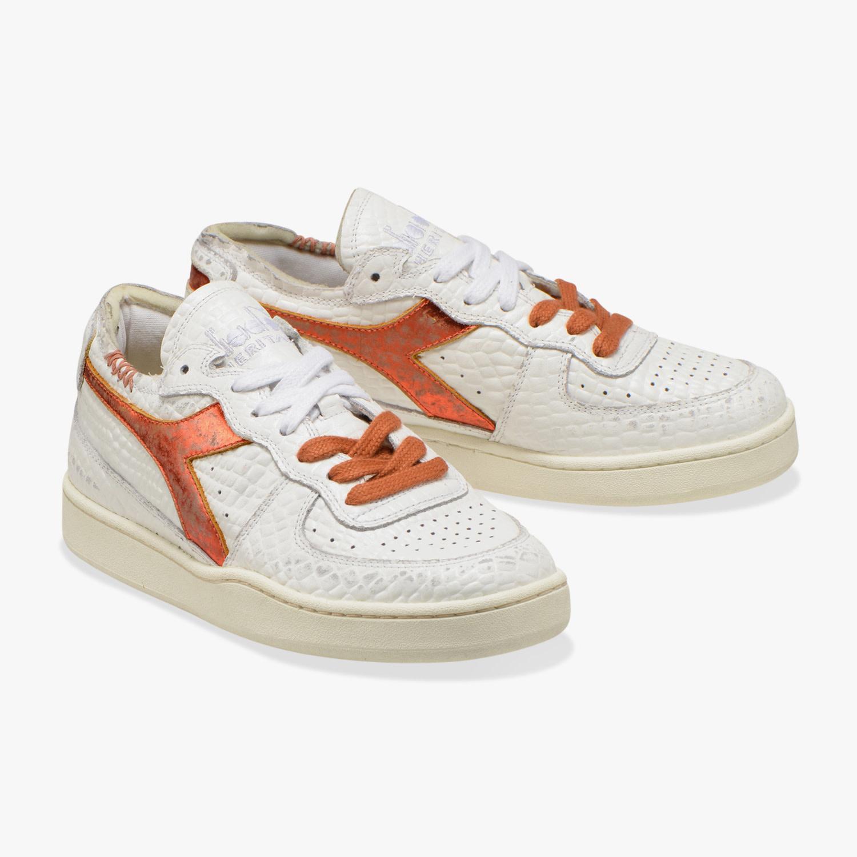 Sneaker basket row cut cocco white/caramel-2