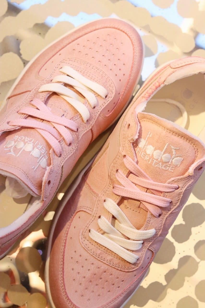 Sneaker basket row cut suede used pink/powder-3