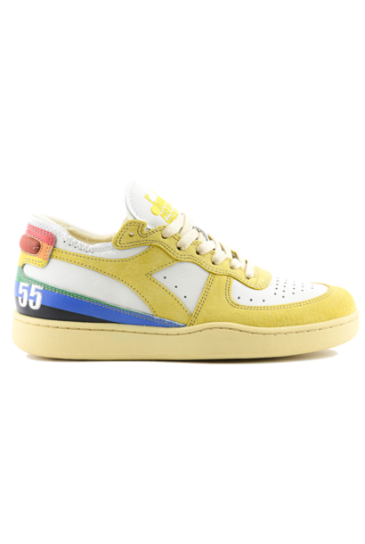 Sneaker basket row cut  Denver white/yellow