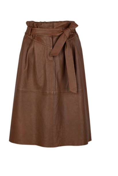 Aggy leather skirt caramel