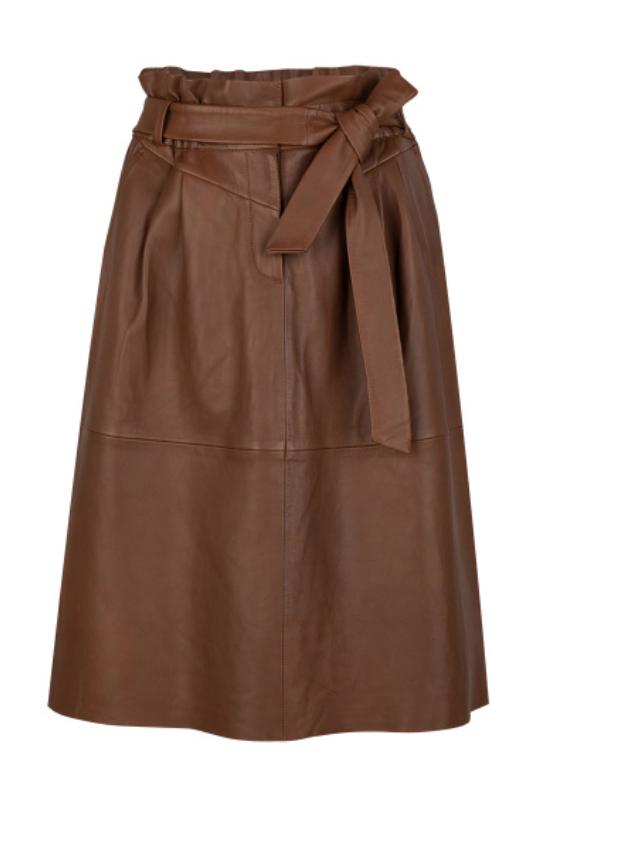 Aggy leather skirt caramel-1