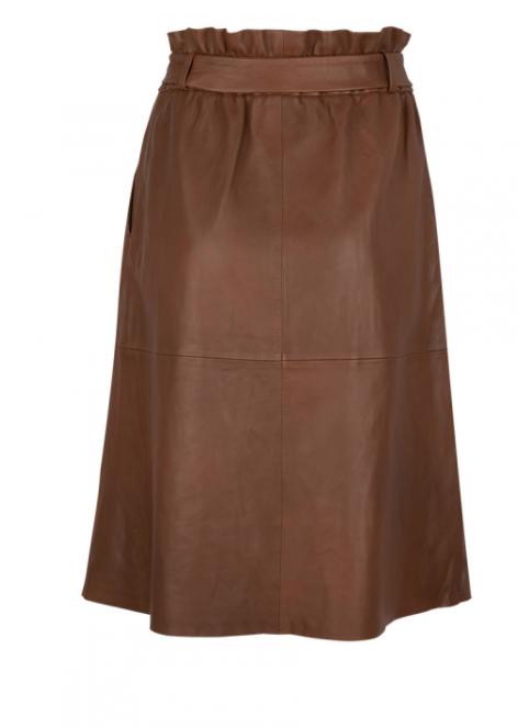Aggy leather skirt caramel-2
