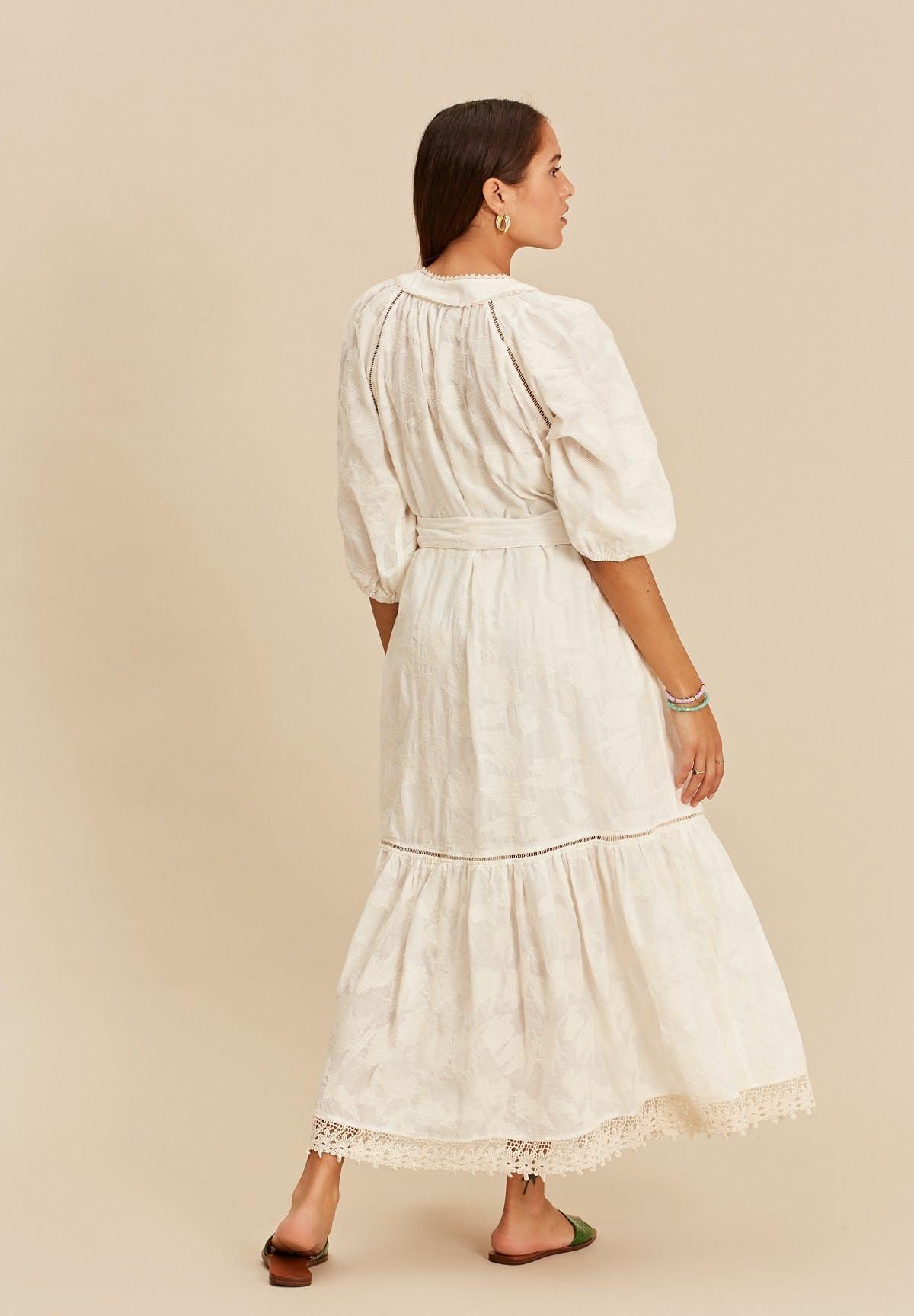 Midi dress with tresses offwhite-3