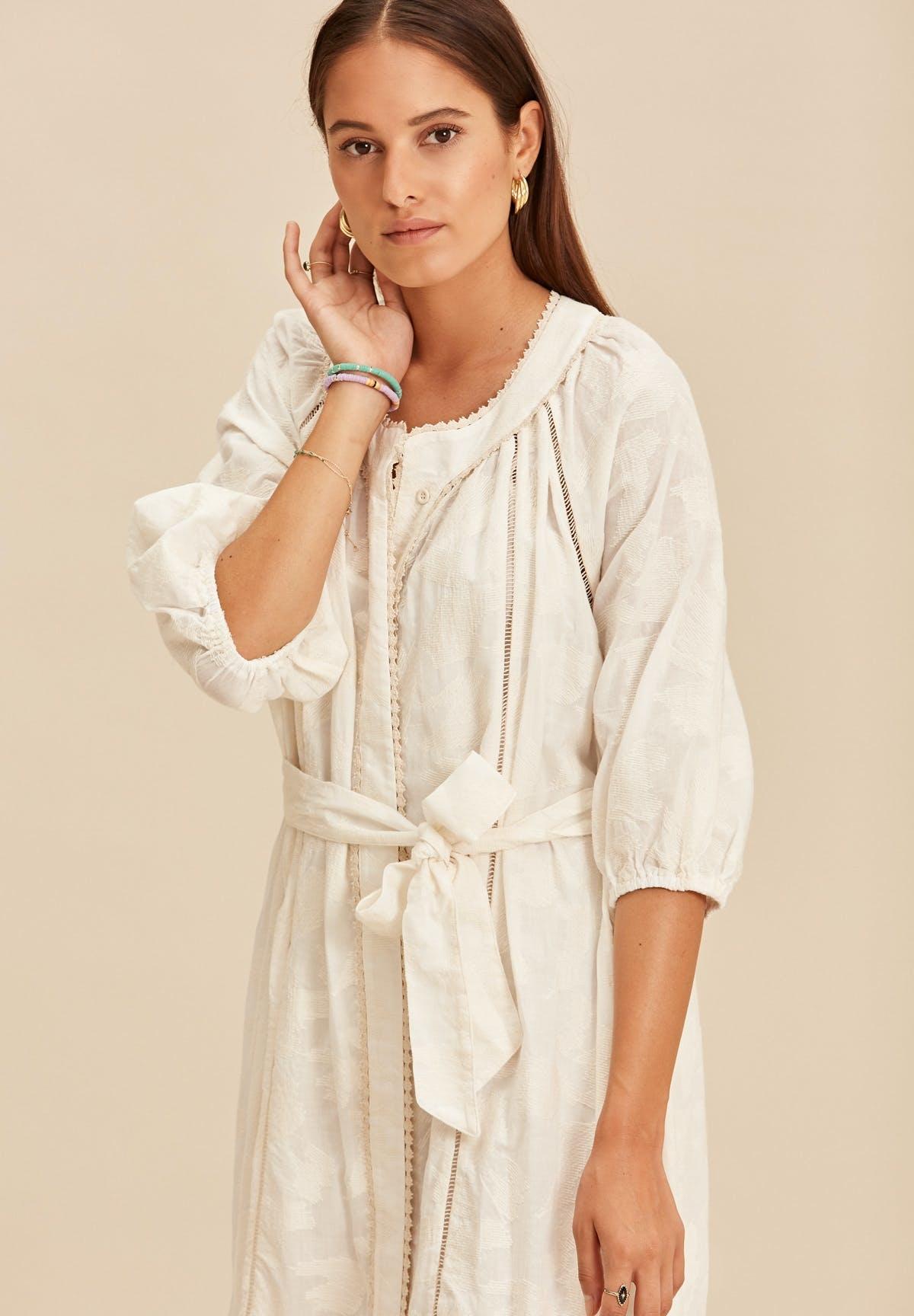 Midi dress with tresses offwhite-2
