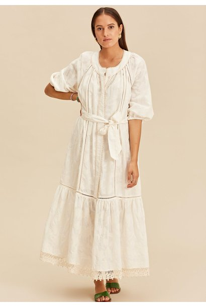 Midi dress with tresses offwhite