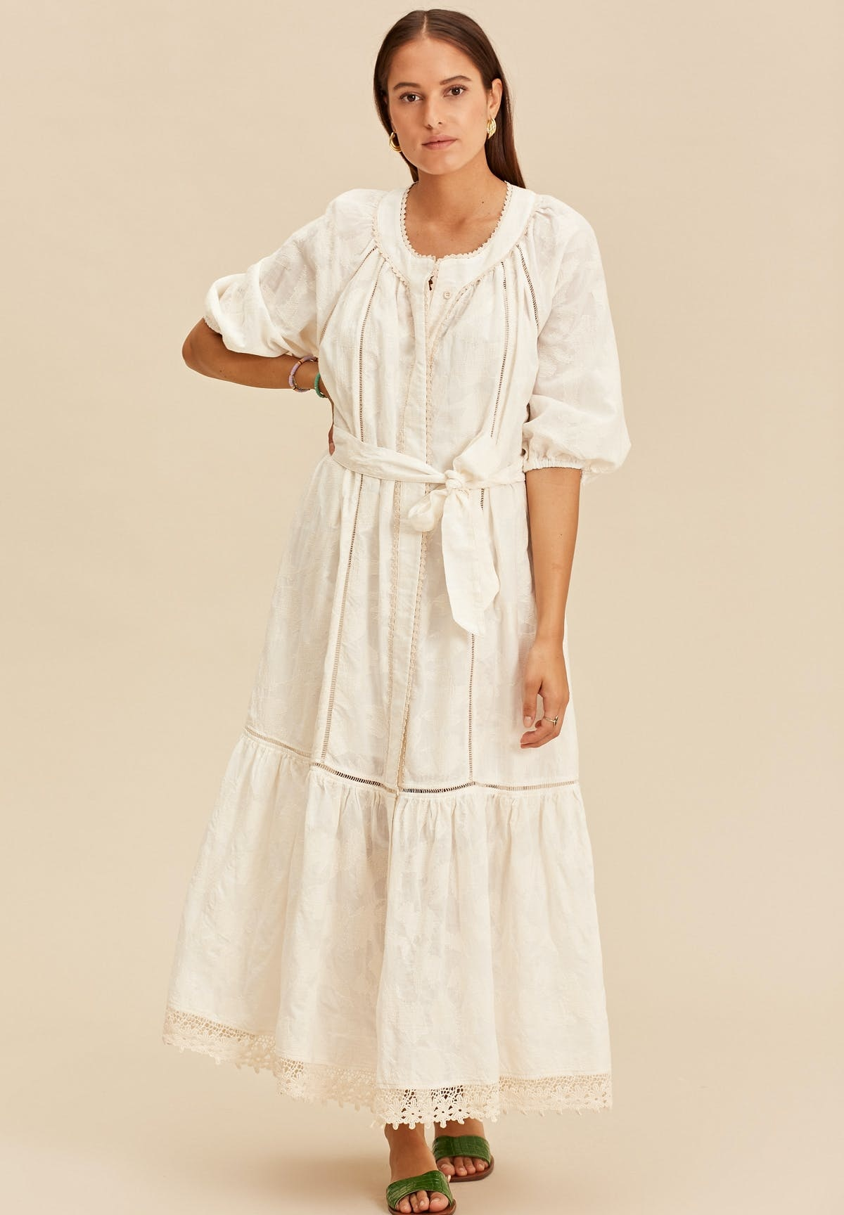 Midi dress with tresses offwhite-1