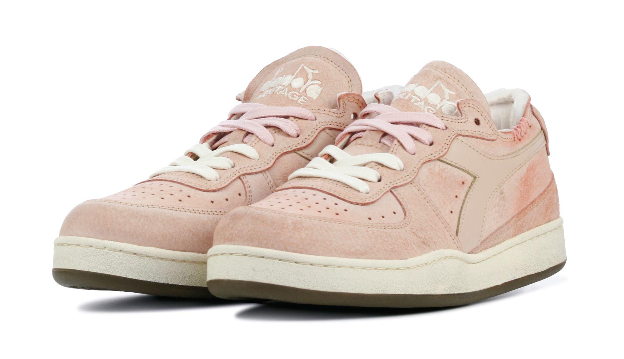 Sneaker basket row cut suede used pink/powder-2