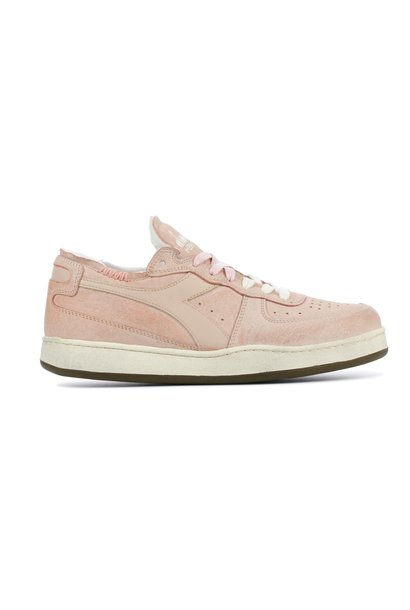Sneaker basket row cut suede used pink/powder