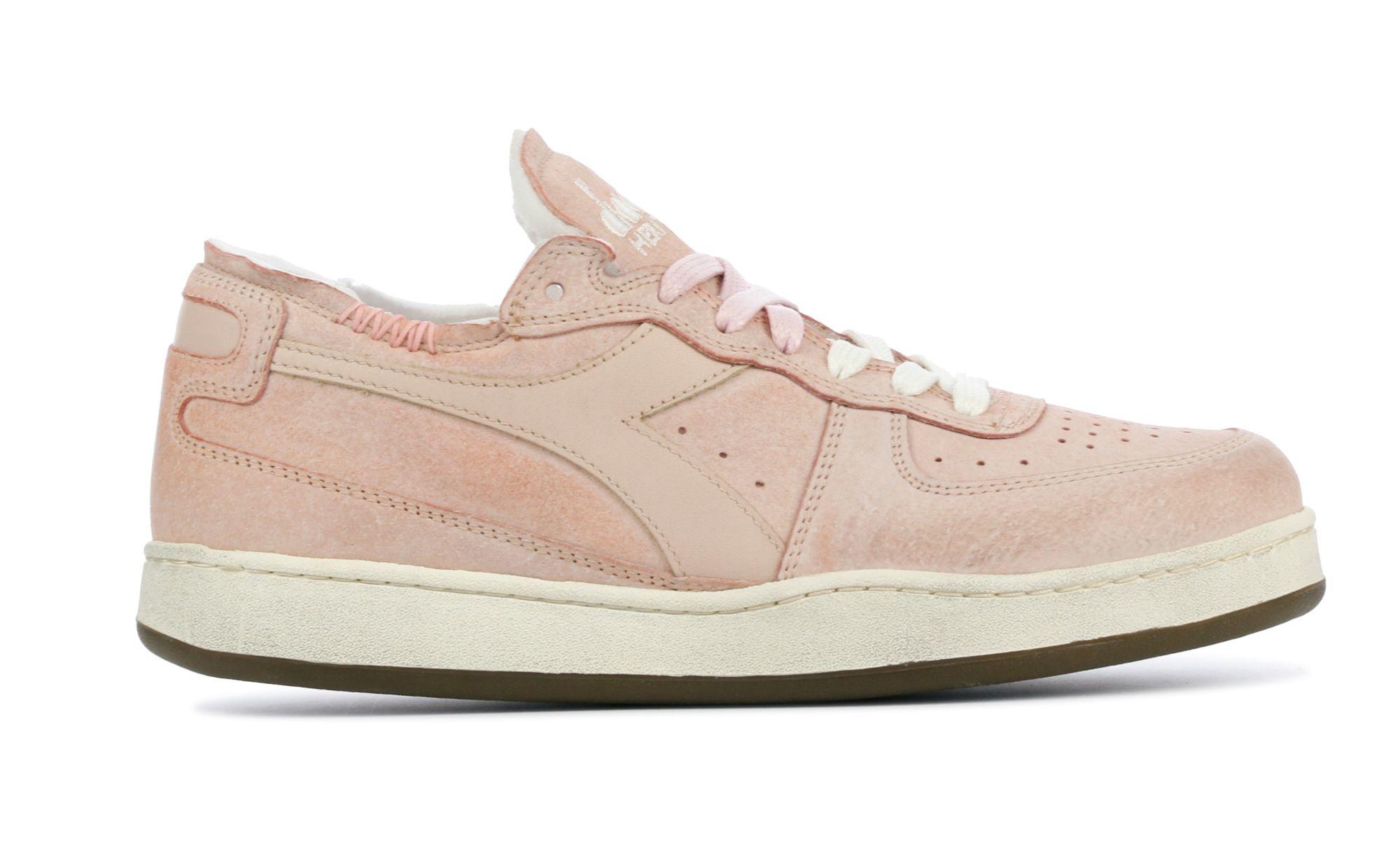 Sneaker basket row cut suede used pink/powder-1