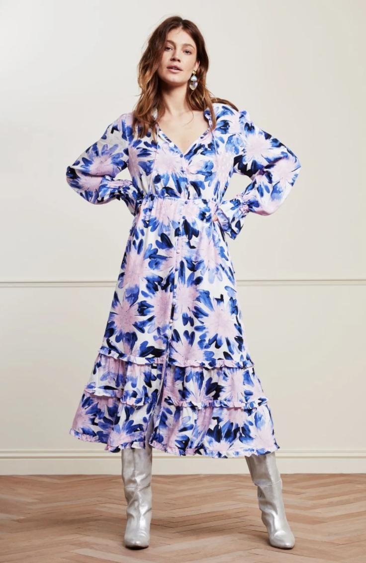 Marigold dress cream white/lila-2