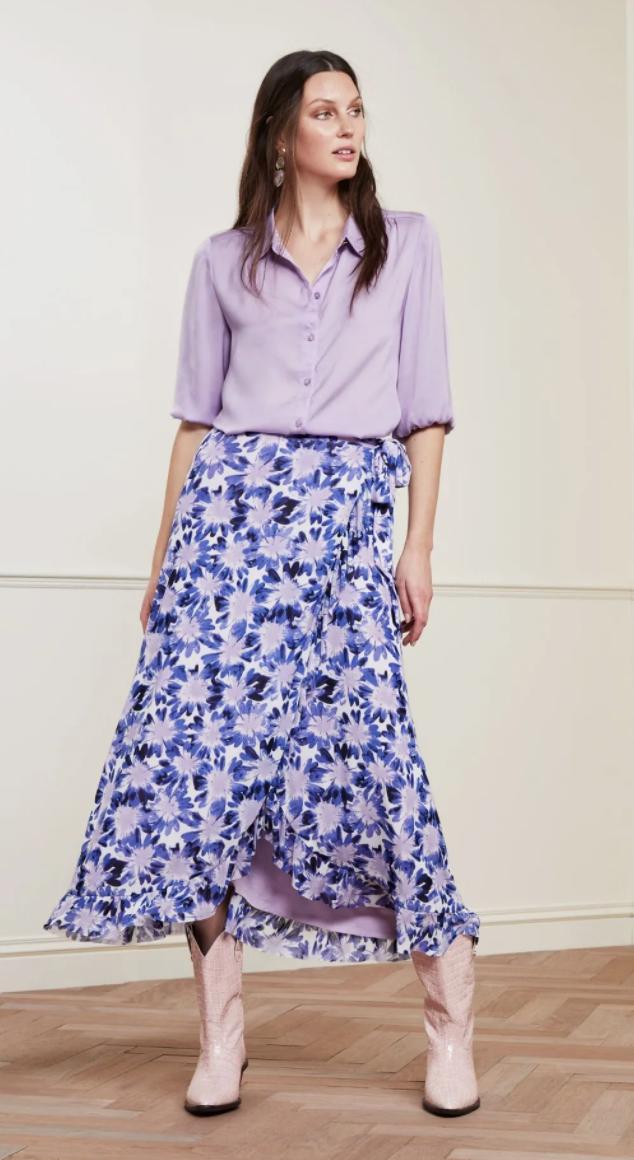 Bobo frill skirt cream lila-2