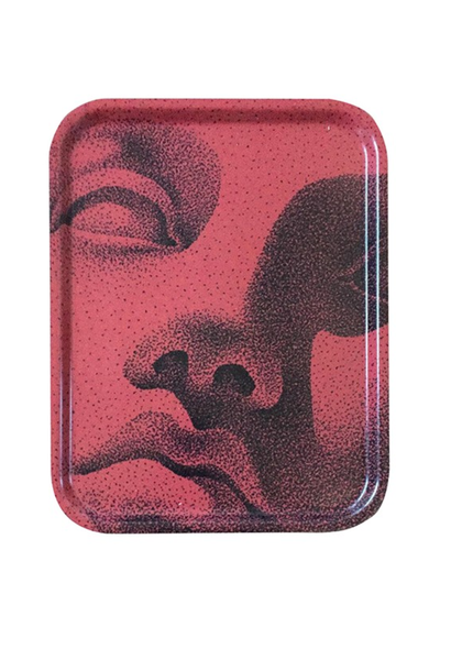 Wooden tray red